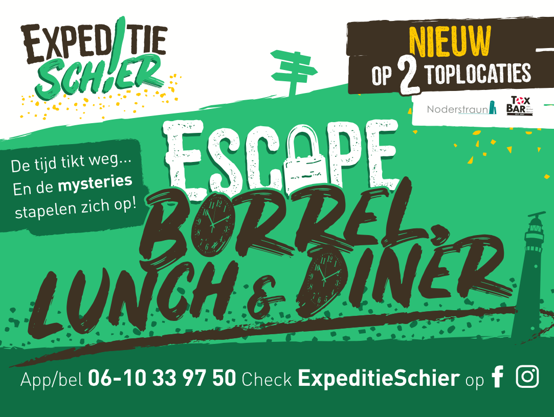 Escape borrel, lunch en diner